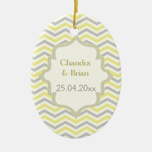 Modern yellow, grey, ivory chevron pattern custom ornament