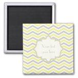 Modern yellow, grey, ivory chevron pattern custom square magnet