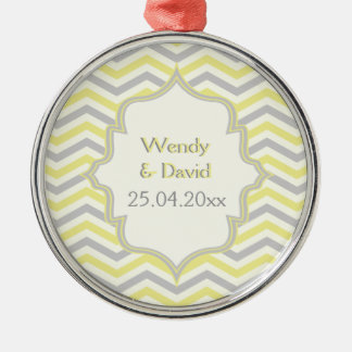 Modern yellow, grey, ivory chevron pattern custom Silver-Colored round decoration