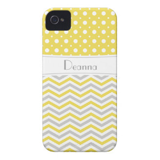 Modern yellow, grey, white chevron & polka dot Case-Mate iPhone 4 case