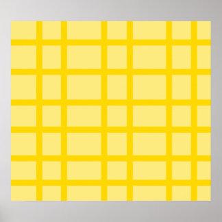 Modern yellow grid pattern poster