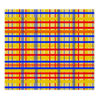Modern yellow grid pattern with red blue plaid poster