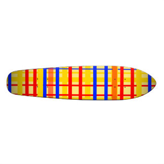 Modern yellow grid pattern with red blue plaid skateboards