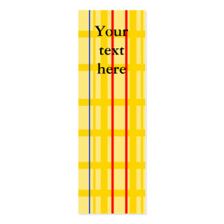 Modern yellow grid pattern with red blue stripes pack of skinny business cards