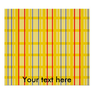 Modern yellow grid pattern with red blue stripes poster