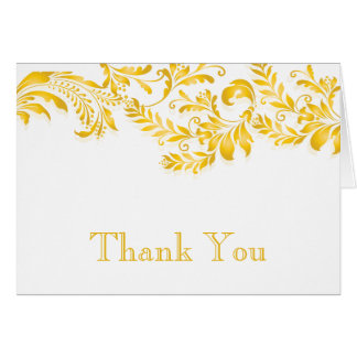 Modern Yellow Leaf Flourish Thank You Note Stationery Note Card