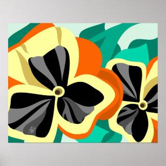 Modern Yellow Pansy Art Poster