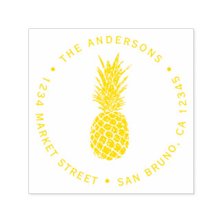 Modern Yellow Pineapple | Round Return Address Self-inking Stamp