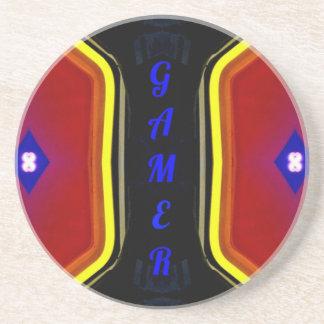 Modern Yellow Red Blue 'Gamer' Artistic Design Coaster