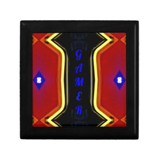 Modern Yellow Red Blue 'Gamer' Artistic Design Small Square Gift Box