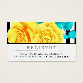 Modern Yellow Rose Wedding Registry Card