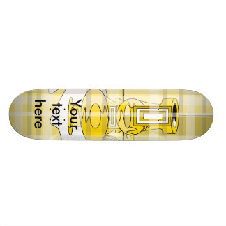 Modern yellow vases in plaid 21.3 cm mini skateboard deck