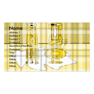 Modern yellow vases in plaid business card
