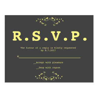 Modern yellow vines wedding RSVP cards