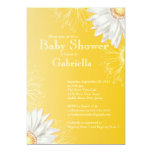 Modern Yellow & White Gerbera Daisy Baby Shower Personalized Announcements