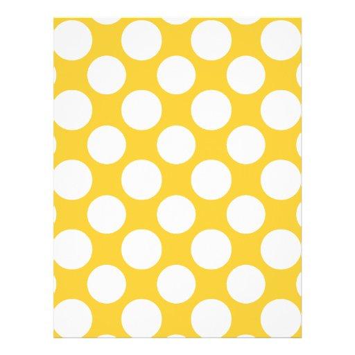Modern Yellow White Polka Dots Pattern Flyers