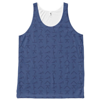 Modern Yoga Symbols - Blue - Unisex All-Over Print Singlet