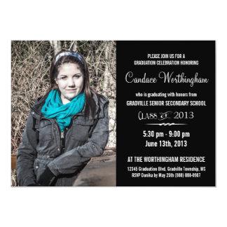 Modern Young Lady BW Large Photo Graduation 13 Cm X 18 Cm Invitation Card