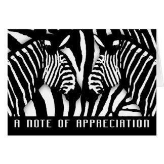 Modern Zebra Print Thank You In Black And White Card