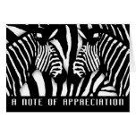 Modern Zebra Print Thank You In Black And White Greeting Card