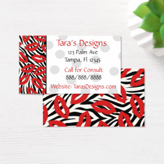 Modern Zebra Striped Red Lips Business Cards
