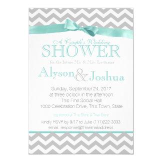 Modern Zigzag Aqua Wedding Shower Card