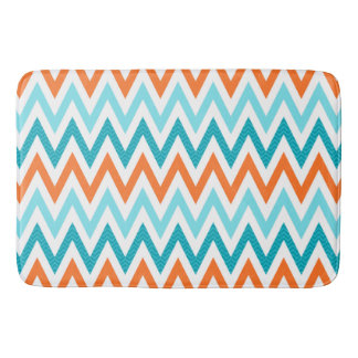 Modern ZigZag Chevron Orange Aqua Blue Pattern Bath Mats