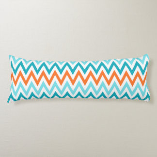 Modern ZigZag Chevron Orange Aqua Blue Pattern Body Cushion