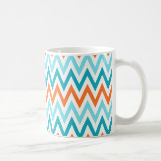 Modern ZigZag Chevron Orange Aqua Blue Pattern Coffee Mug