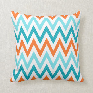 Modern ZigZag Chevron Orange Aqua Blue Pattern Cushion