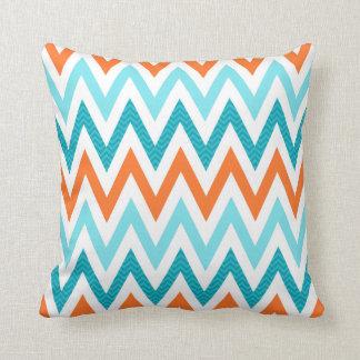 Modern ZigZag Chevron Orange Aqua Blue Pattern Cushions