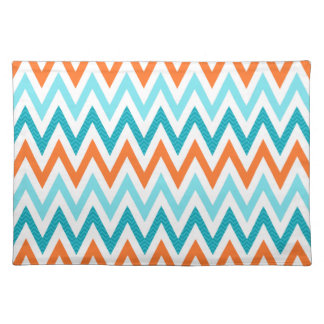 Modern ZigZag Chevron Orange Aqua Blue Pattern Placemat