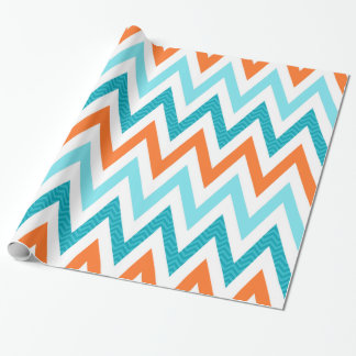 Modern ZigZag Chevron Orange Aqua Blue Pattern Wrapping Paper