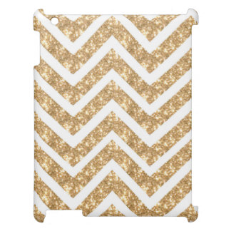Modern Zigzag Faux Gold Glittery  Chevron Pattern iPad Cover