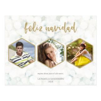 Moderna Feliz Navidad Blanco y Oro Foto Postcard