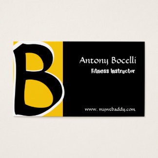 Modernist/ B Bold/ Be Cool/ Custom  Monogram Black Business Card