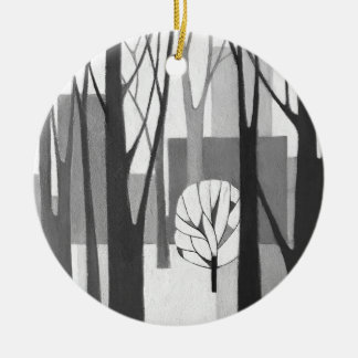 Modernist Urban Winter, an original1968 painting Ceramic Ornament
