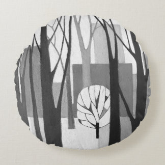 Modernist Urban Winter Round Cushion