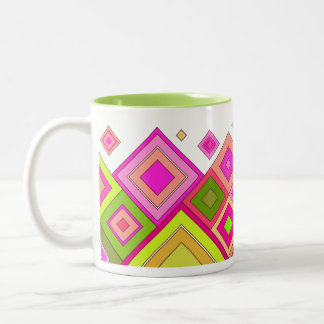ModernRetro Diamonds Pink Two-Tone Coffee Mug