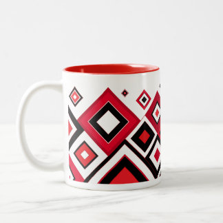 ModernRetro Diamonds Red-Black Two-Tone Coffee Mug