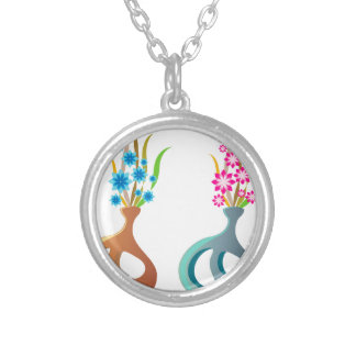 ModernVaseFlowers Silver Plated Necklace