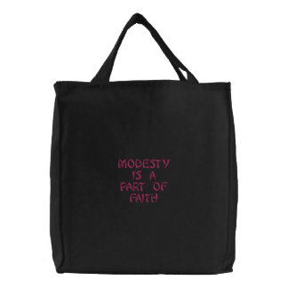 modesty is a part of faith embroidered bag