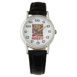 """Modesty"" Womens Classic Black Leather Watch"