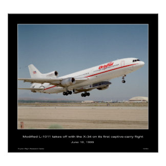 Modified L-1011 takes off with the X-34 Poster