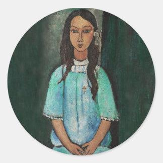 Modigliani Alice Vintage Fine Art Painting Round Sticker