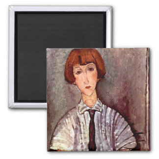 Modigliani portrait Young Girl in Striped Blouse Refrigerator Magnets