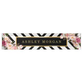 Modish Floral Gold Frame Black White Stripes Desk Nameplate