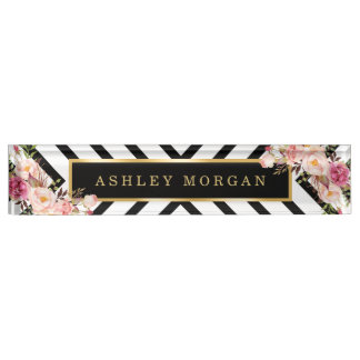 Modish Floral Gold Frame Black White Stripes Nameplate