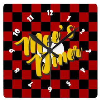Moe's Diner Square Clock