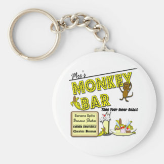 Moe's Monkey Bar Banana Splits Gifts and Apparel Basic Round Button Key Ring